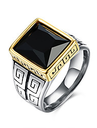 Ring Gemstone Stainless Steel Titanium Steel Glass Fashion Black Jewelry Daily Casual 1pc