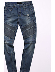 Men's Slim Jeans Pants,Casual/Daily Simple Solid Mid Rise Zipper Cotton Micro-elastic Spring Fall