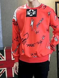 Men's Petite Casual/Daily Simple Sweatshirt Print Fur Trim Round Neck Fleece Lining Micro-elastic Rayon Long Sleeve Fall