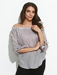 Damen Solide Sexy / Einfach Ausgehen T-shirt,Bateau Frühling / Herbst Langarm Blau / Weiß / Grau Polyester Mittel