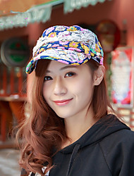 National Style Wild Ladies Lace Cap Summer Outdoor Breathable Flat Roof Cap