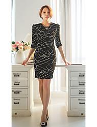 Women's Formal Sexy Sheath Dress,Geometric V Neck Knee-length Long Sleeve White Black Cotton Spring Mid Rise Micro-elastic Medium