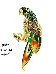 Lovely parrot crystal brooch