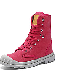 Women's Boots Spring Fall Comfort Canvas Casual Flat Heel Lace-up Black Yellow Red Gray Walking