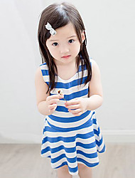Girl's Cotton Casual Sunshine Summer Going out Casual/Daily Sweet Blue Stripe Sleeveless Princess Dress