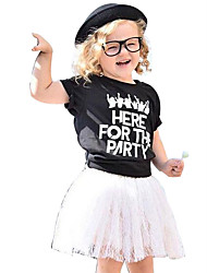 Girls Fashion Europe The United States Letters Printed T-shirts Lace Skirt Two-Piece Outfit