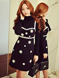 Mujer Línea A Vaina Pequeño Negro Vestido Noche Casual/Diario Vacaciones Bonito Chic de Calle Sofisticado,Floral Bloques RetazosCon