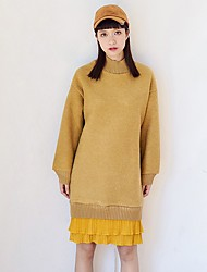 Women's Casual/Daily Holiday Cute Loose Dress,Solid Patchwork Pleated Round Neck Knee-length Long Sleeve Cashmere Polyester Yellow Winter