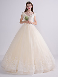 Princess Wedding Dress Floor-length V-neck Tulle with Sequin
