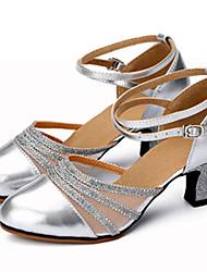 Customizable Women's Dance Shoes Leather Sparkling Glitter Leather Sparkling Glitter Latin Jazz Heels Customized HeelPractice Beginner