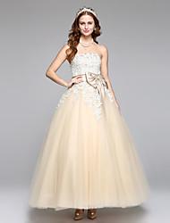 Lanting Bride® Trapèze Robe de Mariage  Tout Simplement Superbe Longueur Cheville Sans Bretelles Dentelle Satin Tulle avecPerlage Noeud