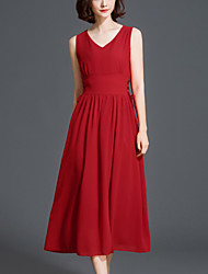 Women's Plus Size Beach Street chic Slim Thin Chiffon Swing Dress Solid Pleated V Neck High Waist Midi Sleeveless Polyester Red /Black Summer