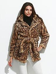 De las mujeres Simple Casual/Diario / Fiesta/Cóctel / Tallas Grandes Leopardo Abrigo de Piel,Escote en Pico Manga Larga Otoño / Invierno