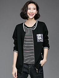 Women's Casual/Daily Simple Jackets,Solid Round Neck Long Sleeve Spring Fall Black Cotton Medium