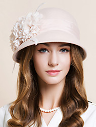 Women's Feather Chiffon Wool Headpiece-Wedding Special Occasion Casual Fascinators Hats 1 Piece