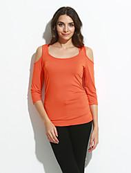 Damen Solide Einfach Ausgehen / Lässig/Alltäglich T-shirt,Rundhalsausschnitt Sommer / Herbst ¾-Arm Rosa / Weiß / Schwarz / Orange