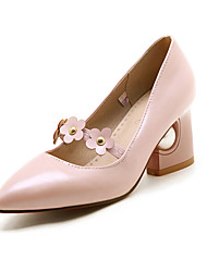 Women's Heels Spring Summer Fall Other PU Office & Career Party & Evening Casual Chunky Heel Pearl Flower Black Pink Beige