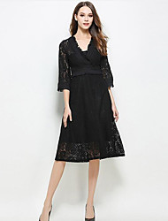 Women's Casual/Daily Sexy A Line Dress,Solid V Neck Midi Long Sleeve Rayon Black Gray Summer Mid Rise Micro-elastic