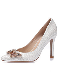 Women's Heels Spring Summer Fall Winter Glitter Leatherette Dress Party & Evening Stiletto Heel Rhinestone Sparkling GlitterGold White