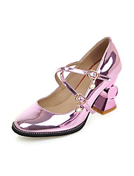 Women's Heels Spring Summer Fall Other Leatherette Casual Chunky Heel Jewelry Heel Purple Silver Gold