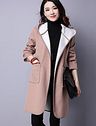 Women's Casual/Daily Simple Coat,Solid Long Sleeve Beige Rayon