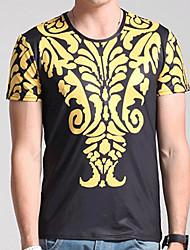 Herren Solide Geometrisch Sexy Einfach Lässig/Alltäglich T-shirt,Rundhalsausschnitt Frühling Herbst Kurzarm Schwarz Seide