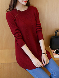 Women's Casual/Daily Simple Regular Pullover,Solid Round Neck Long Sleeves Cotton Acrylic Fall Winter Medium Inelastic