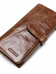 Men Cowhide Sports Casual Shopping Outdoor Office & Career Checkbook Wallet All Seasons