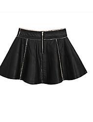 Damen Röcke,Stifte einfarbigLässig/Alltäglich Mittlere Hüfthöhe Mini Reisverschluss Elastizität PU Micro-elastisch Winter