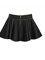 Women's Pencil Solid Skirts,Casual/Daily Mid Rise Mini Zipper Elasticity PU Micro-elastic Winter