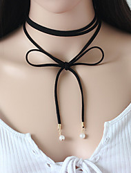 Boho 2016 Sexy Long Suede Choker Necklace Women Fashion Accessories Black Rope Bohemian Necklace Pearl Bijoux Femme Collares