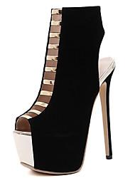 Damen-Stiefel-Outddor Kleid Party & Festivität-Wildleder-Stöckelabsatz-Komfort Neuheit Club-Schuhe Light Up Schuhe-Schwarz