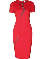 Women's Plus Size Simple Bodycon Dress,Solid Round Neck Knee-length Short Sleeve Red Black Cotton Summer Mid Rise Inelastic Medium