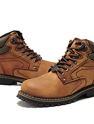 Men's Boots Spring Fall Winter Comfort Nappa Leather Outdoor Office & Career Casual Work & Safety Dark Brown Hiking