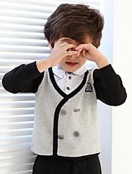 Boy's Cotton Fashion British Style Spring/Fall Going out/Casual/Daily Dot Patchwork False Two-piece Long Sleeve T-shirt Kid Blouse