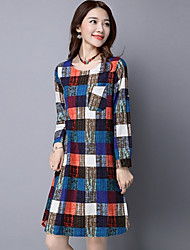 Women's Going out Casual/Daily Holiday Vintage Simple A Line Dress,Patchwork Round Neck Knee-length ½ Length Sleeve Multi-colorCotton