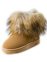 Women's Boots Fall Winter Comfort Suede Outdoor Dress Casual Low Heel Pom-pom Black Purple Fuchsia Dark Brown