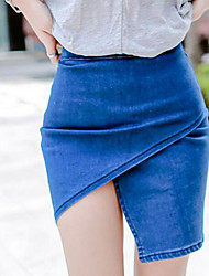 Women's Bodycon Solid Skirts,Casual/Daily Mid Rise Mini Elasticity Cotton Micro-elastic Spring Summer