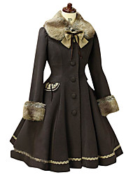 Steampunk®Coat Gothic Lolita/Classic Lolita Princess Cosplay Lolita Dress Black Solid Long Sleeve Lolita Coat For Women