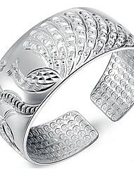 Feminino Bracelete Prata de Lei Moda Formato de Flor Pavão Prata Jóias 1peça