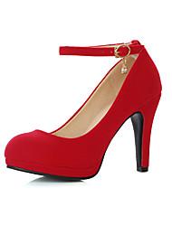 Women's Heels Spring Summer Fall Fleece Office & Career Casual Party & Evening Stiletto Heel Sequin Buckle Black Red
