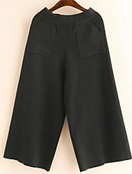 Feminino Perna larga Chinos Calças-Cor Única Casual Simples Cintura Média Elasticidade Acrílico Micro-Elástico Com Molas