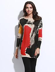 Damen Lang Pullover-Lässig/Alltäglich Boho Street Schick Einfarbig Weiß Beige Grau Rundhalsausschnitt Langarm Wolle Acryl NylonFrühling
