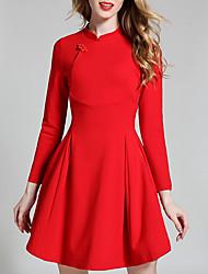 Mujer Línea A Vestido Casual/Diario Simple,Un Color Escote Chino Sobre la rodilla Manga Corta Poliéster Otoño Tiro Alto Microelástico