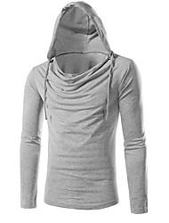 Herren Solide Aktiv Lässig/Alltäglich Sport T-shirt,Mit Kapuze Frühling Herbst Langarm Blau Rot Weiß Braun Grau BaumwolleUndurchsichtig