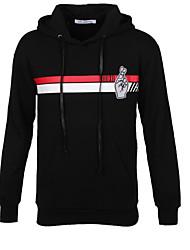Herren Solide Retro Lässig/Alltäglich T-shirt,Mit Kapuze Herbst Langarm Schwarz Baumwolle Mittel