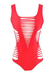 Women's Bandeau One-piece,Solid Polyester Spandex Red Black