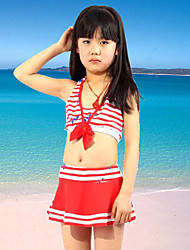 Girl Floral Ruffle Stripes Striped Patchwork Swimwear,Spandex