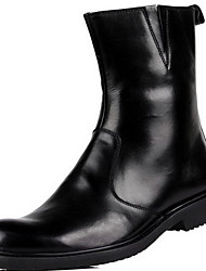 Для мужчин Ботинки Армейские ботинки Кожа Осень Зима Повседневные Армейские ботинки Черный Коричневый На плоской подошве
