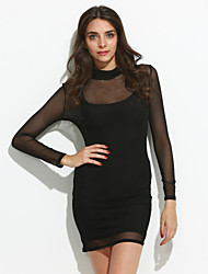 Women's Casual/Daily Sexy Bodycon DressSolid Turtleneck Above Knee Long Sleeve Black Rayon